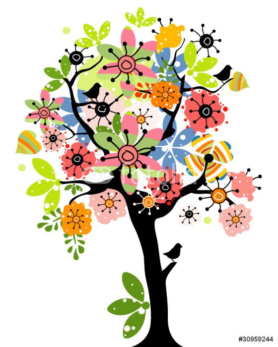 Sticker Pixerstick Spring tree - Sticker mural