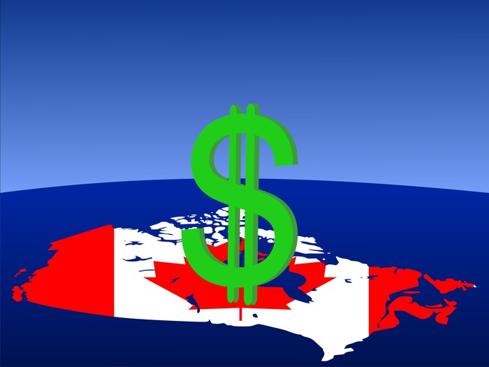 Vinylová Tapeta Kanadský dolar podepsat s mapou a vlajky - Doplňky a věci