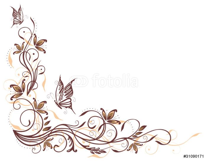 Wandtattoo ranke flora blumen bl ten filigran for Wandtattoo braun