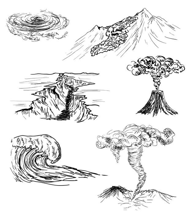 Vinylová fototapeta Ručně kreslenými skica ze šesti přírodních katastrof - Vinylová fototapeta