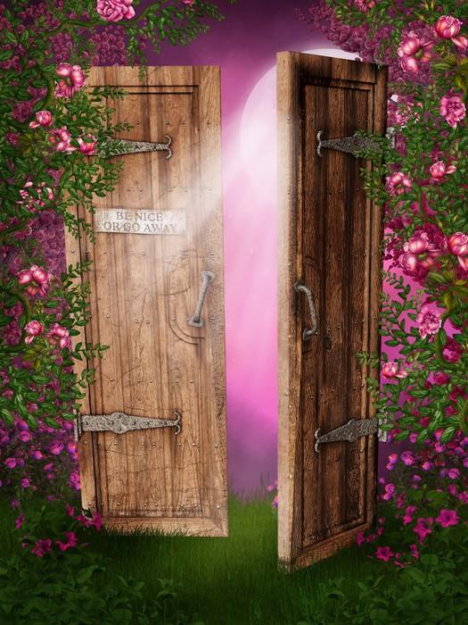 Carta da parati porte nel giardino di rose pixers for Carta da parati per porte