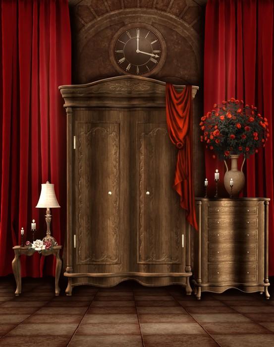 Fotobehang Slaapkamer met garderobe en retro klok • Pixers® - We ...