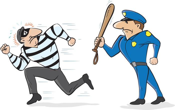 Nálepka pixerstick kreslený policisty plašit zloděje