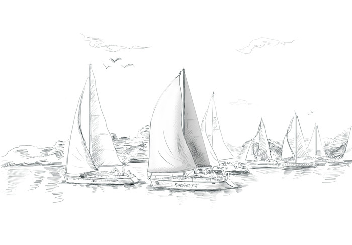 Vinylová Tapeta Plachetnice a loď ilustrace - Prázdniny