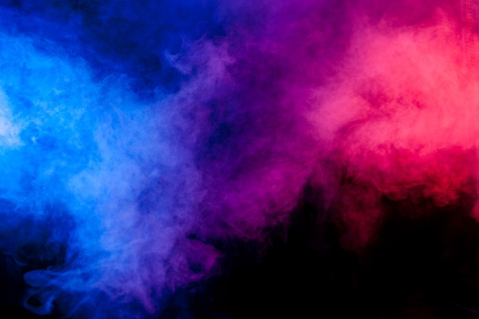 Red and blue smoke on black background Sticker • Pixers ...