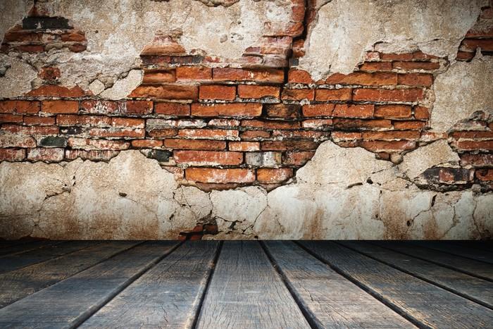 sticker pl tre fissur de vieux mur de brique pixers nous vivons pour changer. Black Bedroom Furniture Sets. Home Design Ideas
