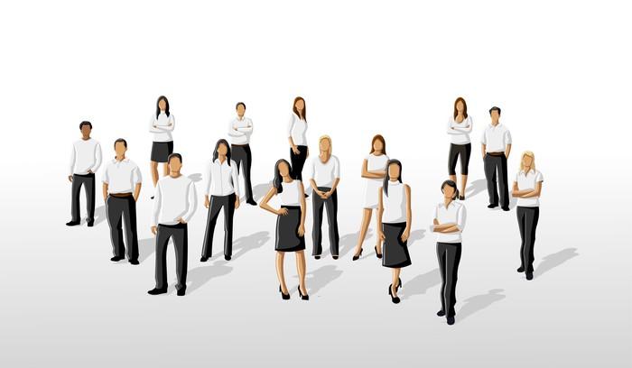 Fototapete Vorlage einer Gruppe Menschen tragen weiße Kleidung ...