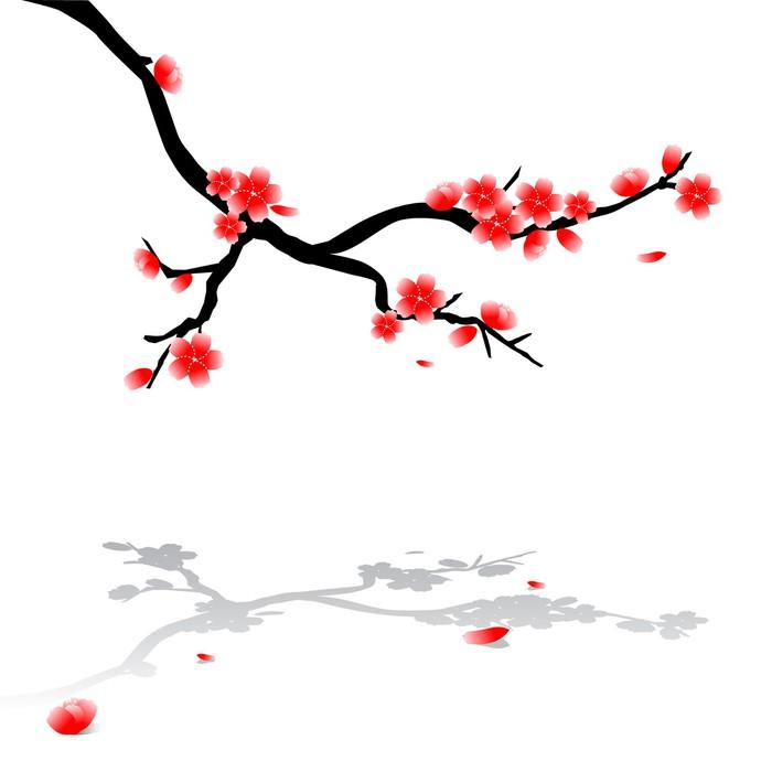 sticker dessin japonais de cerisier pixers nous. Black Bedroom Furniture Sets. Home Design Ideas