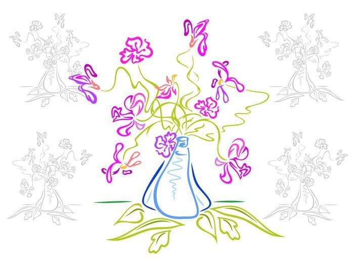 Nálepka Pixerstick Kytice abstraktních květin ve váze - Květiny