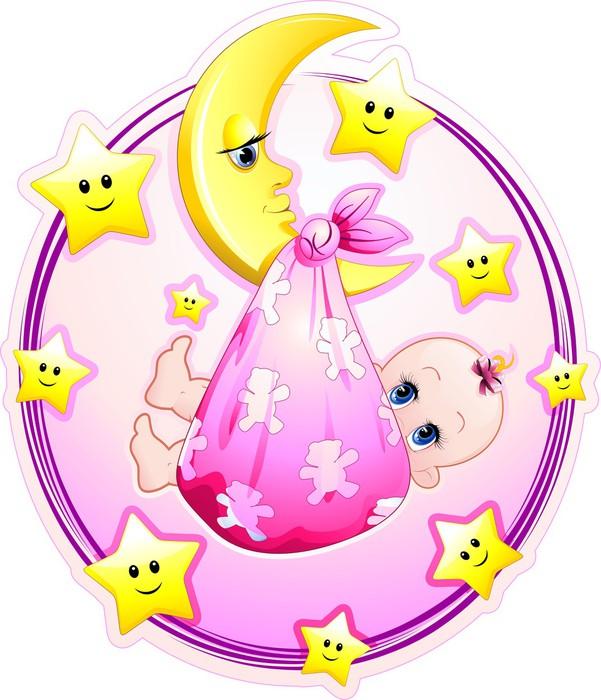 Carta da parati neonata bambina con luna cartoon baby girl for Carta parati bambina