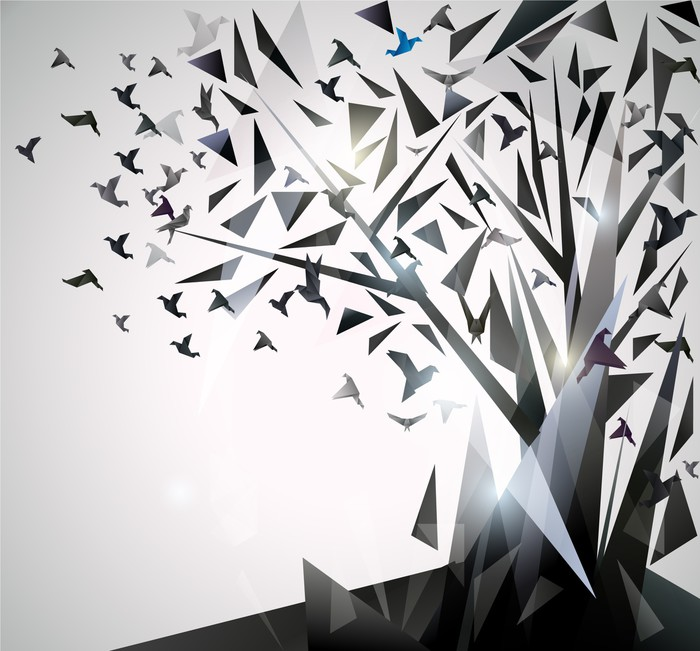 abstract tree with origami birds wall mural pixers we live to change. Black Bedroom Furniture Sets. Home Design Ideas