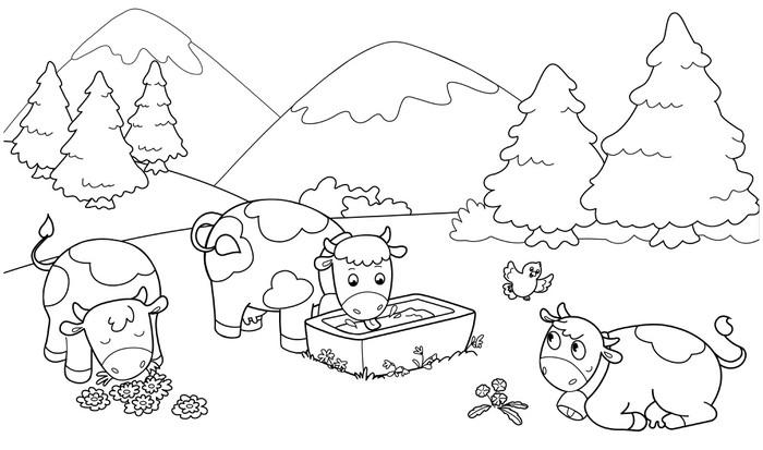 Carta da parati mucche in montagna illustrazioni da - Immagini da colorare delle montagne ...