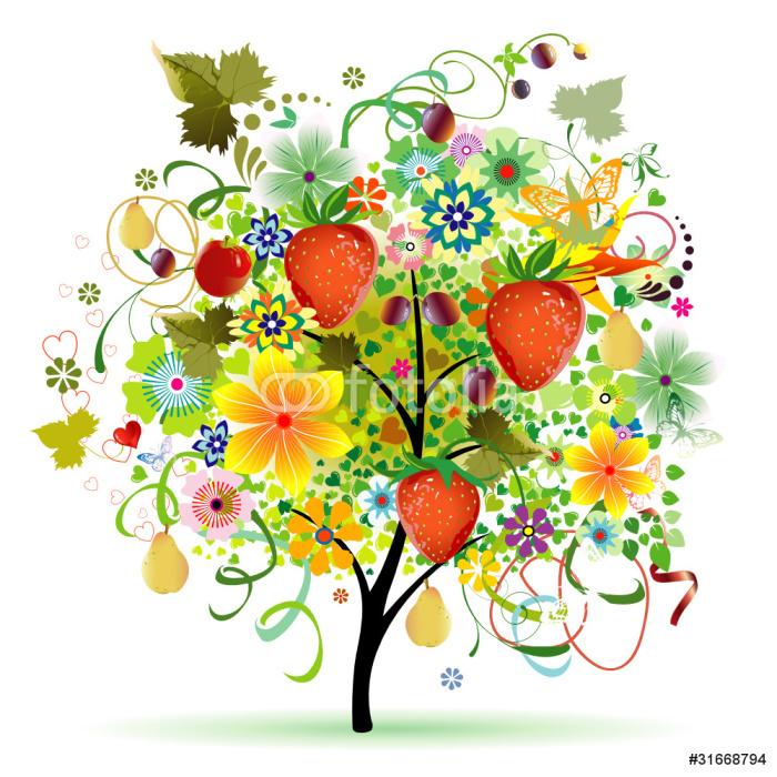 Vinylová Tapeta Strom s ovocem - Nálepka na stěny