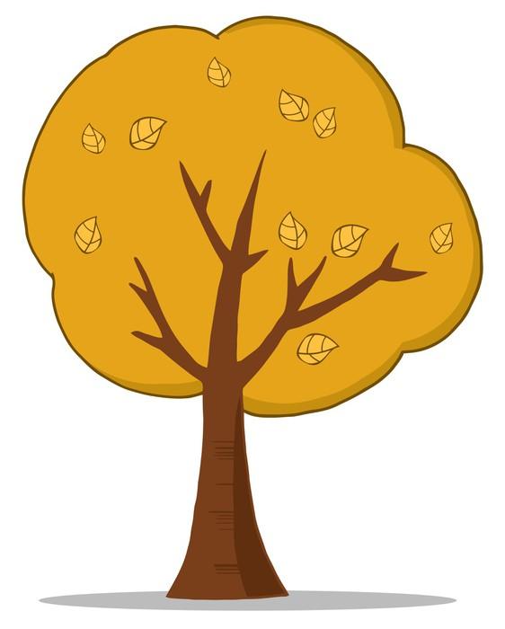Cartoon Autumn Tree Wall Mural • Pixers® • We live to change