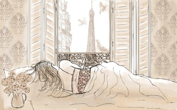 woman sleeping in Paris Wall Mural - Vinyl - Themes