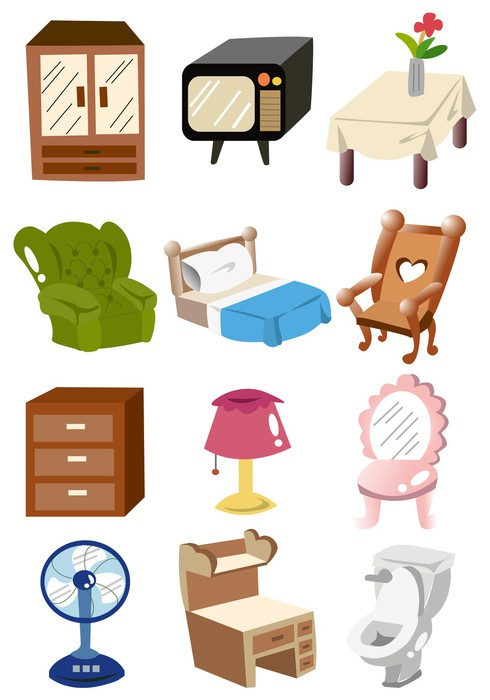 Cuadro en lienzo hogar muebles de dibujos animados icono for Mueble animado