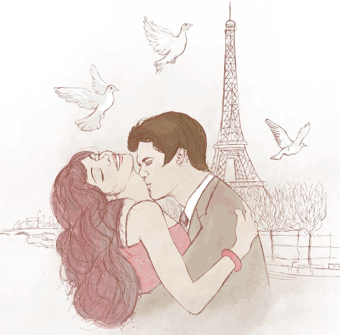couple kissing in Paris Wall Mural - Vinyl - Other