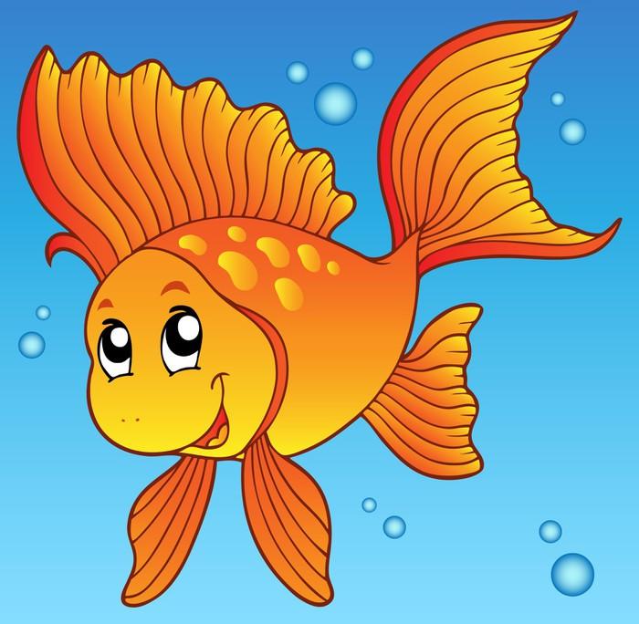 Papier peint poisson rouge mignon dans l 39 eau pixers for Acheter poisson rouge lille