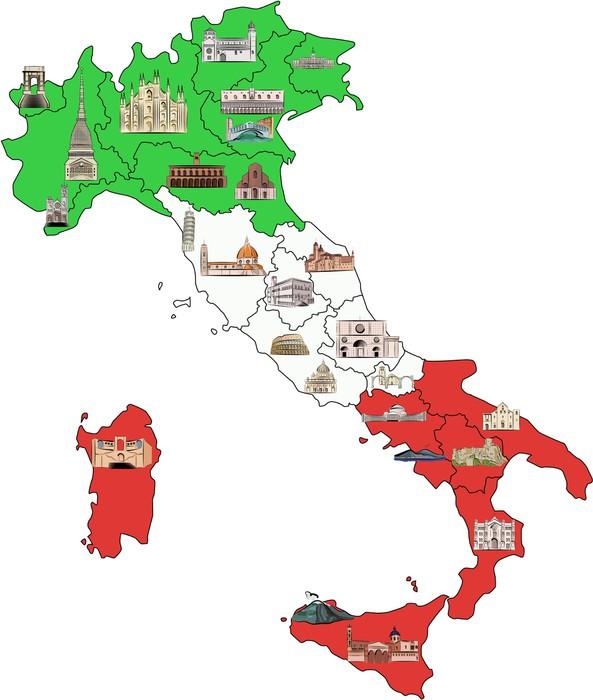 Carta da parati mappa d 39 italia con attrazioni in for La parati italia