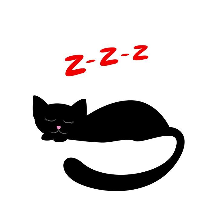 Vinilo Pixerstick Durmiendo gato negro • Pixers® - Vivimos para cambiar