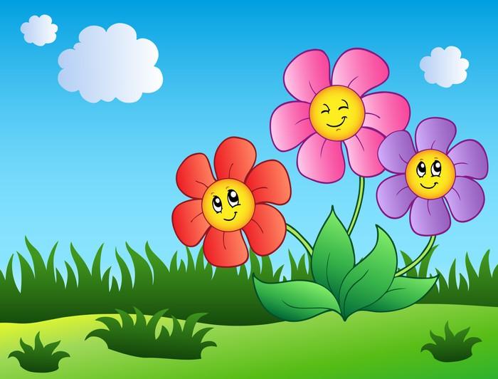 Fotomural Tres flores de dibujos animados en el prado • Pixers ...