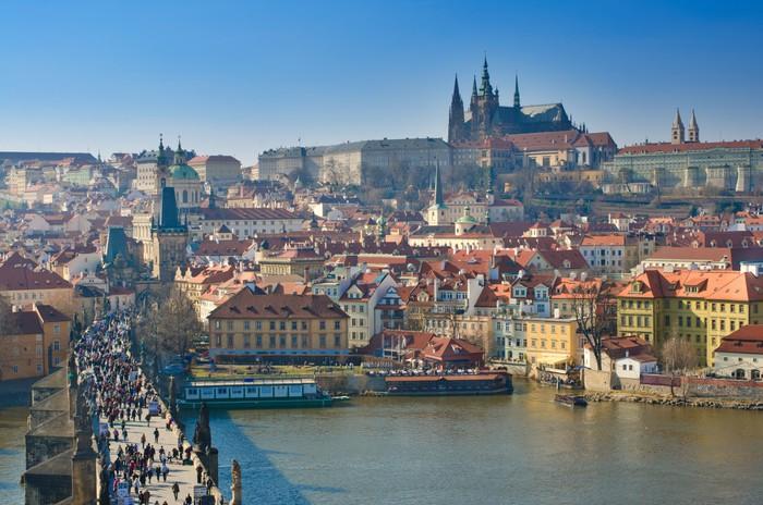 Vinylová Tapeta Praha, Karlův most a Pražský hrad, Vltava panoramatická - Evropská města
