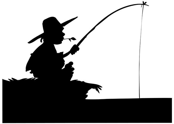 Sylwetka chłopiec połowów