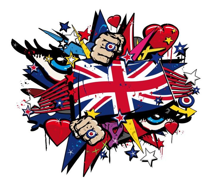 Graffiti UK flag pop art illustration Wall Decal • Pixers® • We live ...