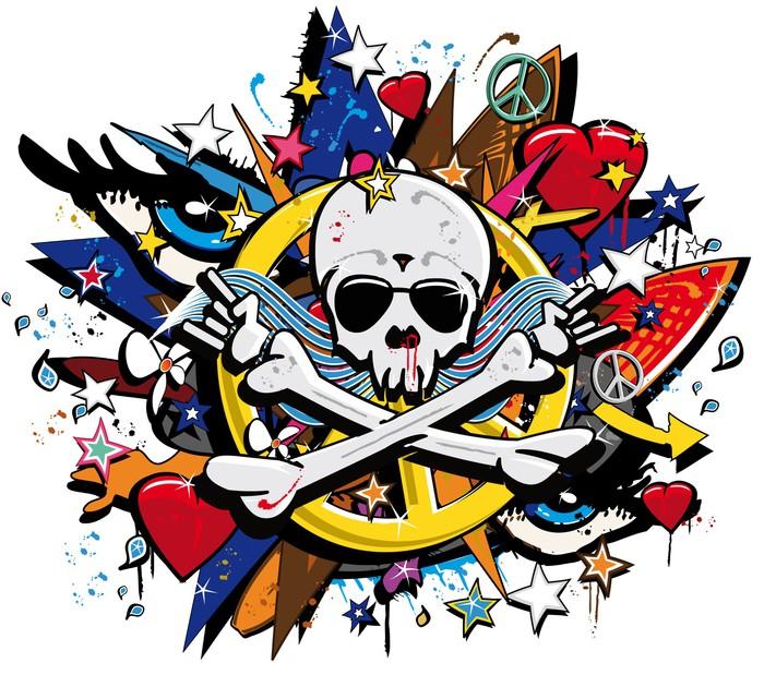 Graffiti Skull and Bones skeletonl pop art illustration Wall Decal ...