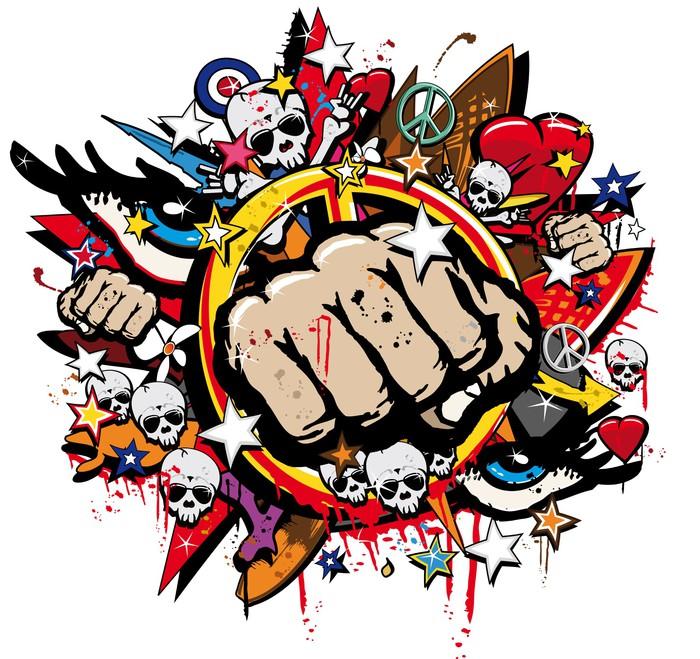 Vinylová Tapeta Graffiti Fist Freefight klub symbol pop art - Nálepka na stěny