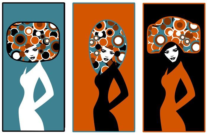 Ilustracja przedstawiająca sylwetki trzech kobiet. Sticker - Pixerstick - Women