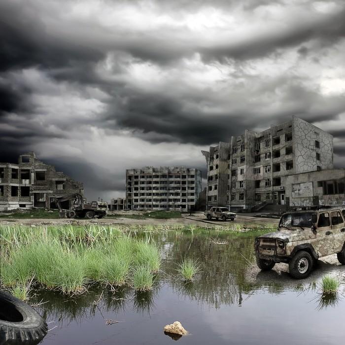 Vinylová Tapeta Apokalyptický krajina - Bezdomovectví