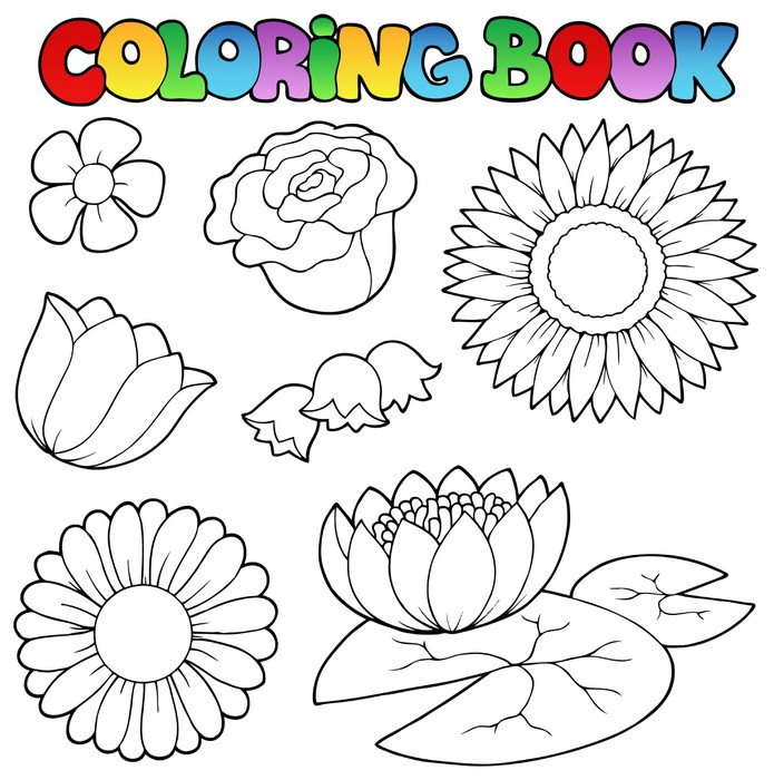 Coloring Book With Flowers Set Vinyl Wall Mural