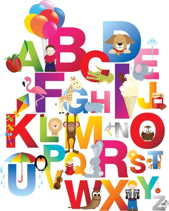 tableau sur toile illustration de l 39 alphabet pour enfants. Black Bedroom Furniture Sets. Home Design Ideas