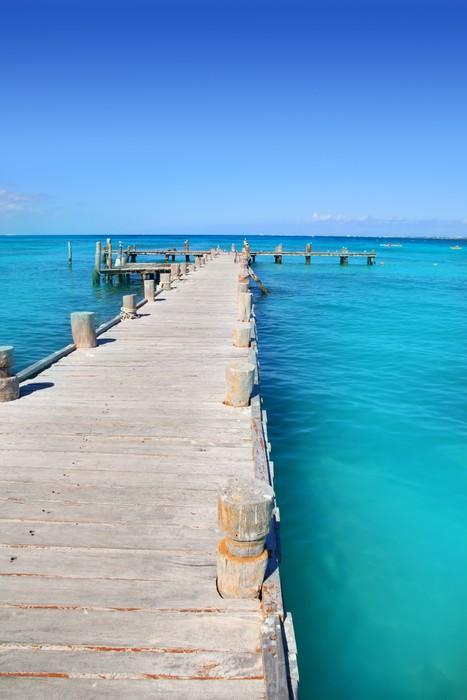 Vinylová Tapeta Cancun dřevěné molo v tropickém Karibském moři - Témata