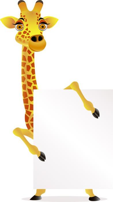 Vinylová Tapeta Žirafa karton a prázdný znak - Savci