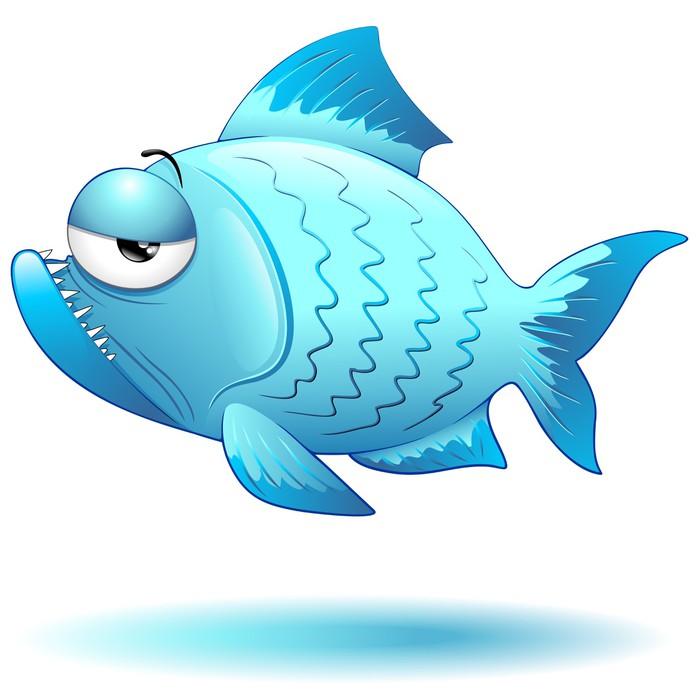 Carta da parati pesce cartoon blu divertente cartone
