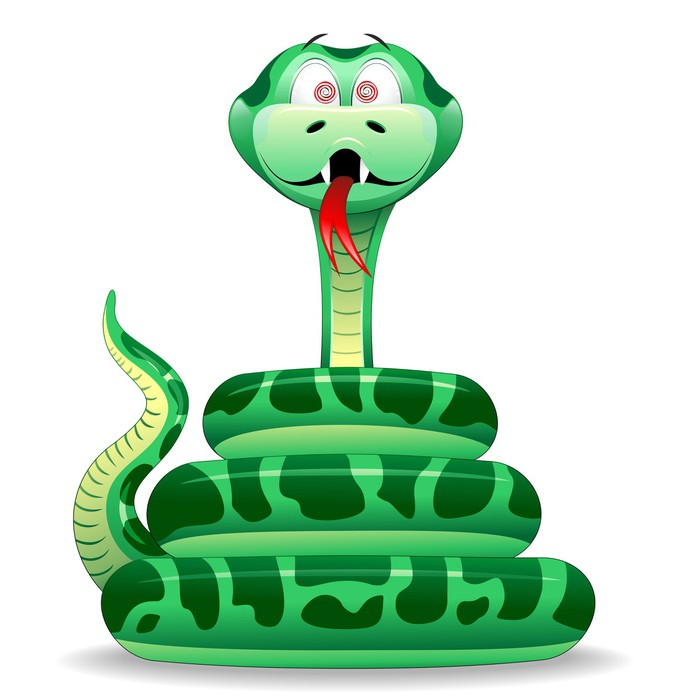 Fotomural Estndar Serpente Cartoonserpiente verde de dibujos