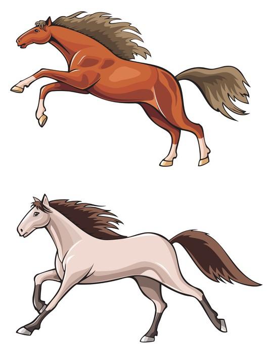 Póster Dos Caballos Corriendo Mustang Salvaje Vector Realista