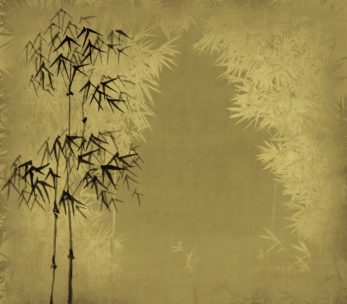 Carta da parati inchiostro pittura cinese di bamb su for Carta da parati cinese