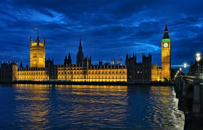 Vinylová Tapeta Westminsterský palác, Temže, Londýn, Anglie, Velká Británie, \ v noci - Evropská města
