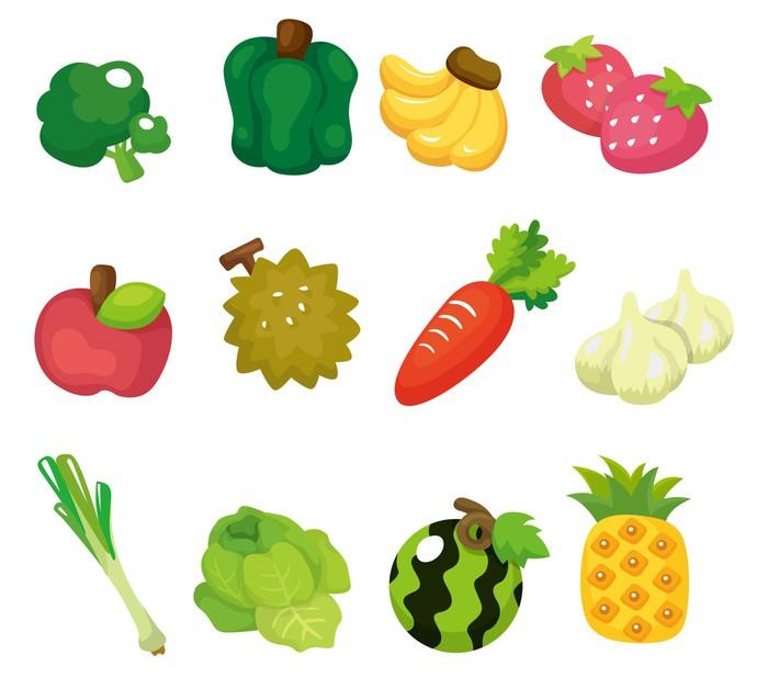 Vinilo Pixerstick Frutas Verduras Y Juego De Dibujos
