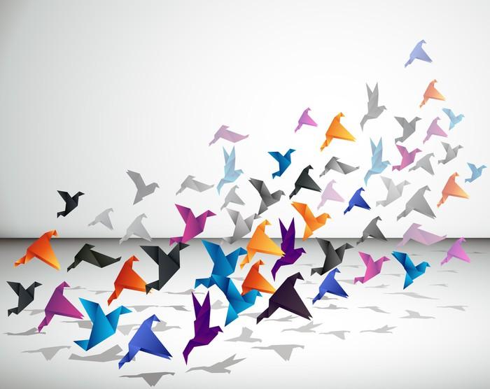 papier peint vol int rieur les oiseaux commencent voler origami dans l 39 espace ferm pixers. Black Bedroom Furniture Sets. Home Design Ideas