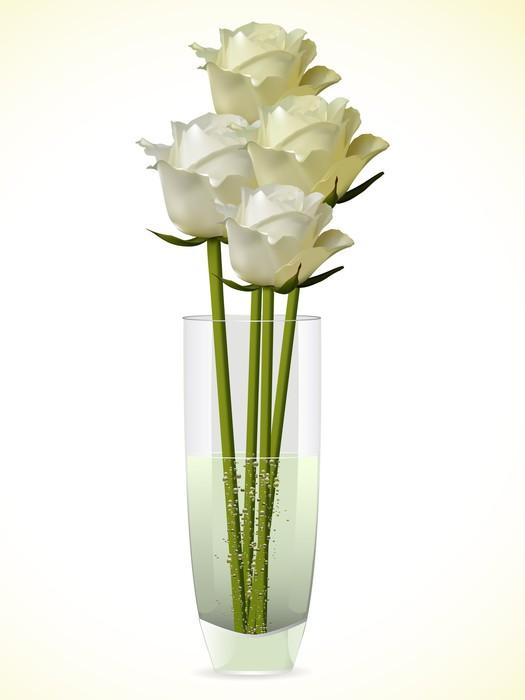 fototapete wei und elfenbein rosen in einer glasvase auf. Black Bedroom Furniture Sets. Home Design Ideas
