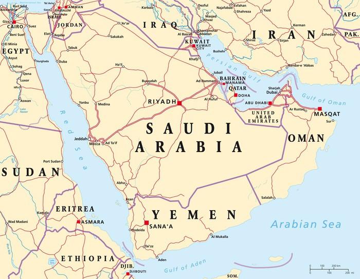 Carta da parati penisola arabica mappa pixers viviamo for Carta da parati cartina geografica