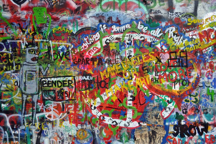 John Lennon wall in Prague Wall Mural • Pixers® • We live to change