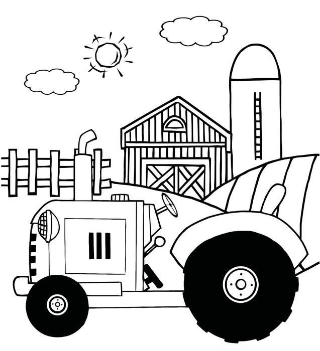Vinilo Pixerstick Granja Outlined Tractor en un potrero cerca de un ...
