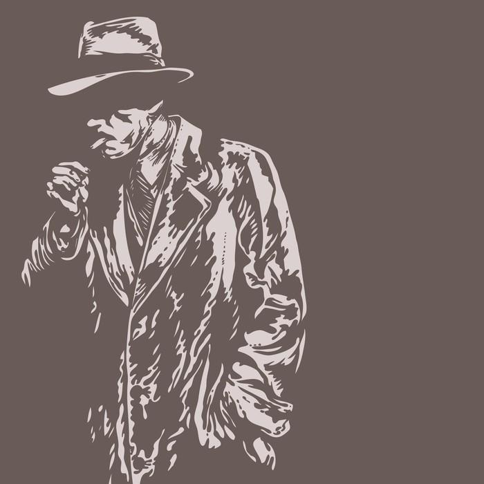 man in hat, graffiti style, vector illustration