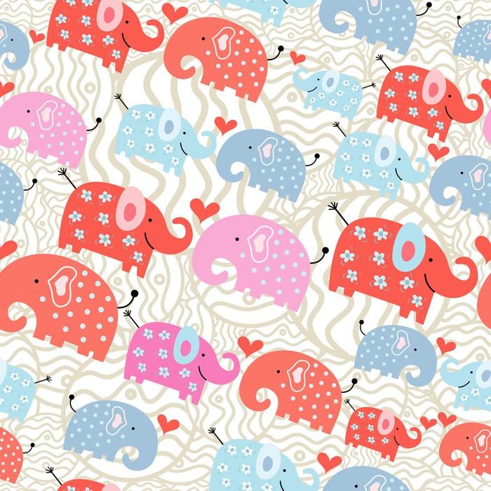 Vinylová Tapeta Textura slonů v hrášku - Mezinárodní svátky