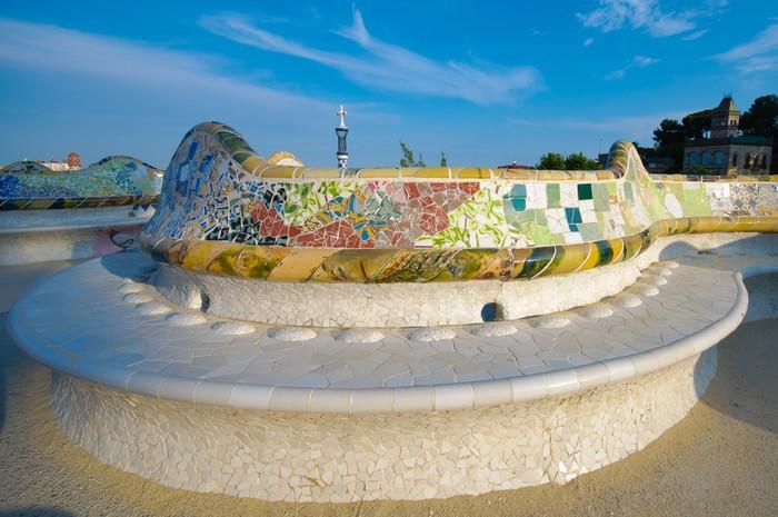 Vinylová Tapeta Slavný dlouho mozaika lavičce v parku Güell v Barceloně - Evropská města